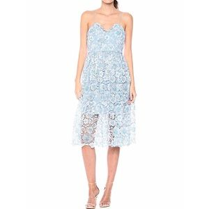 DONNA MORGAN ||| Women's Two Tone Lace Midi Dress